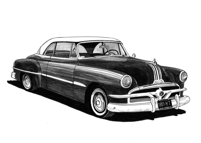 1951 Pontiac H T Greeting Card featuring the painting 1951 Pontiac Hard Top by Jack Pumphrey