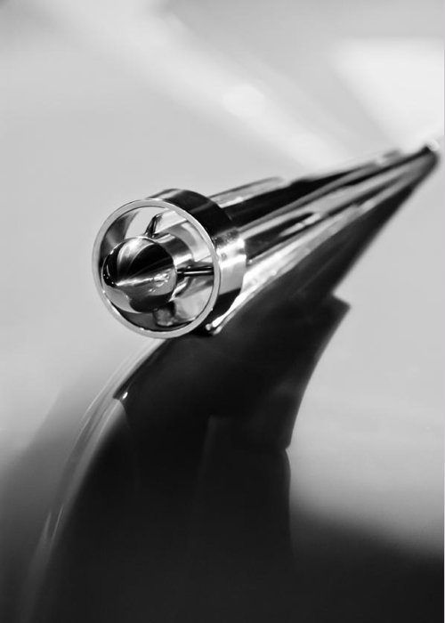 1951 Studebaker Pickup Truck Hood Ornament Greeting Card featuring the photograph 1951 Studebaker Pickup Truck Hood Ornament 2 by Jill Reger