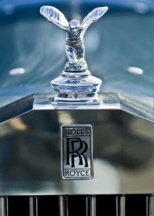 1952 Rolls-royce Greeting Card featuring the photograph 1952 Rolls-royce Hood Ornament by Jill Reger