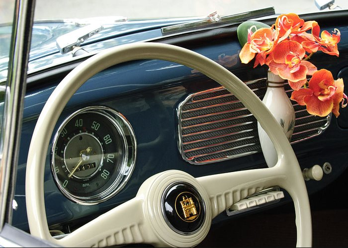 1952 Volkswagen Vw Bug Greeting Card featuring the photograph 1952 Volkswagen Vw Bug Steering Wheel by Jill Reger