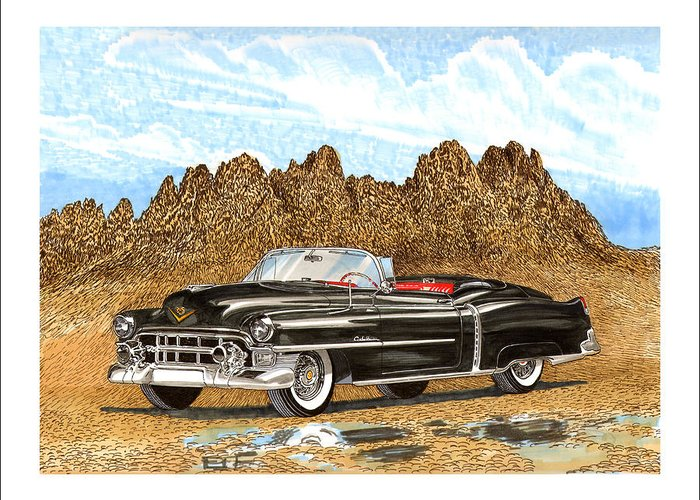 Organ Mountains-desert Peaks National Monument Greeting Card featuring the painting 1953 Cadillac Eldorado Biarritz by Jack Pumphrey