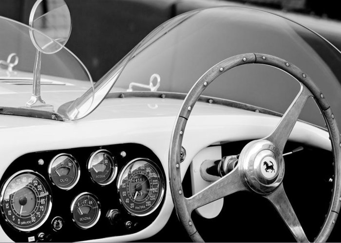 1953 Ferrari 340 Mm Lemans Spyder Steering Wheel Emblem Greeting Card featuring the photograph 1953 Ferrari 340 Mm Lemans Spyder Steering Wheel Emblem by Jill Reger