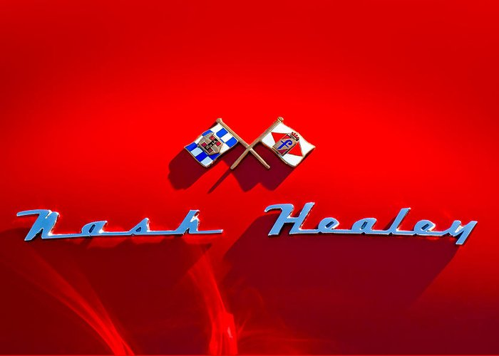 1953 Nash-healey Roadster Greeting Card featuring the photograph 1953 Nash-healey Roadster Emblem by Jill Reger