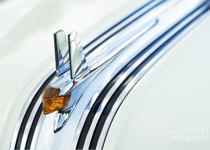 1953 Greeting Card featuring the photograph 1953 Pontiac Chieftain Hood Ornament by Tim Gainey