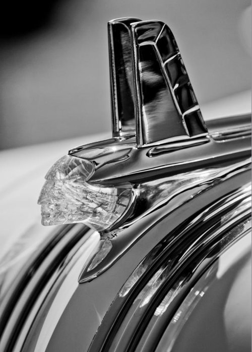 1953 Pontiac Greeting Card featuring the photograph 1953 Pontiac Hood Ornament 4 by Jill Reger