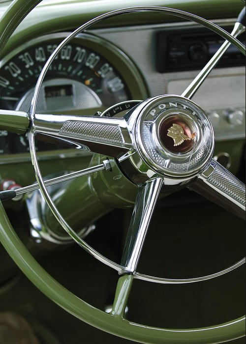 1953 Pontiac Greeting Card featuring the photograph 1953 Pontiac Steering Wheel by Jill Reger