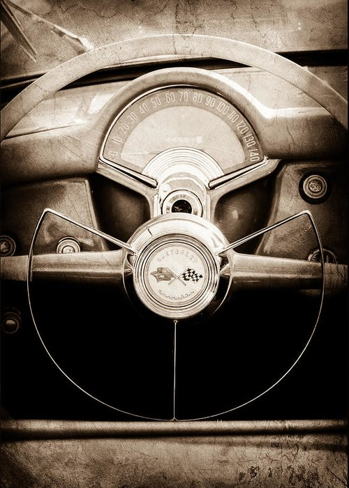1954 Chevrolet Corvette Steering Wheel Emblem Greeting Card featuring the photograph 1954 Chevrolet Corvette Steering Wheel Emblem by Jill Reger