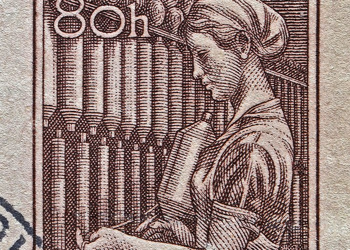1954 Greeting Card featuring the photograph 1954 Czechoslovakian Textile Worker Stamp by Bill Owen