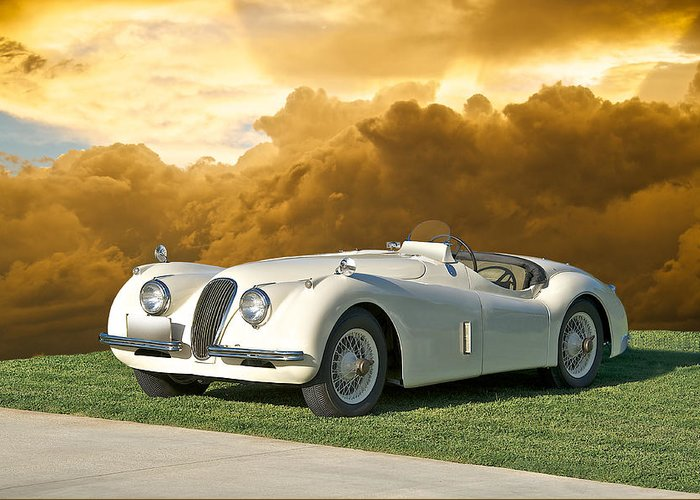 Auto Greeting Card featuring the photograph 1954 Jaguar Xk120 Roadster by Dave Koontz