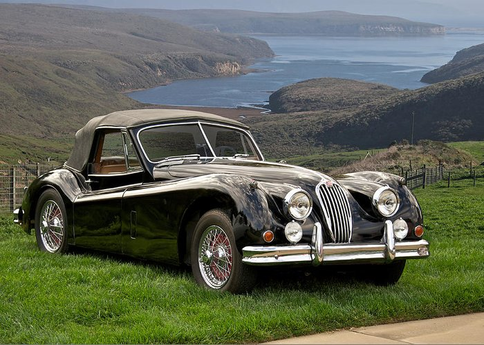 Auto Greeting Card featuring the photograph 1954 Jaguar Xk140 by Dave Koontz