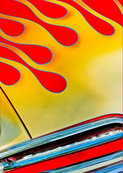 1954 Studebaker Champion Coupe Hot Rod Red With Flames - Grille Emblem Greeting Card featuring the photograph 1954 Studebaker Champion Coupe Hot Rod Red With Flames - Grille Emblem by Jill Reger