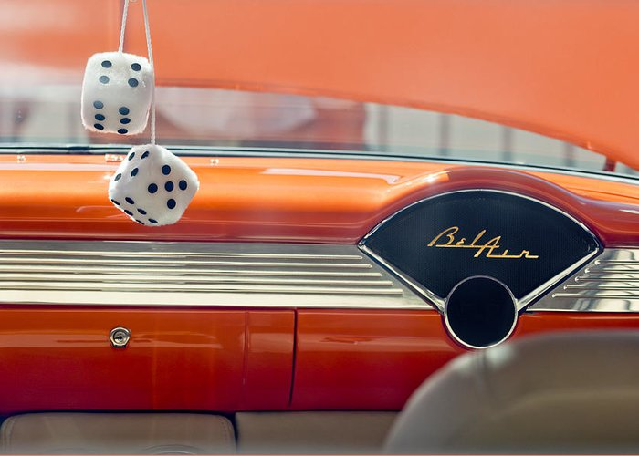 1955 Chevrolet Greeting Card featuring the photograph 1955 Chevrolet Belair Dashboard by Jill Reger