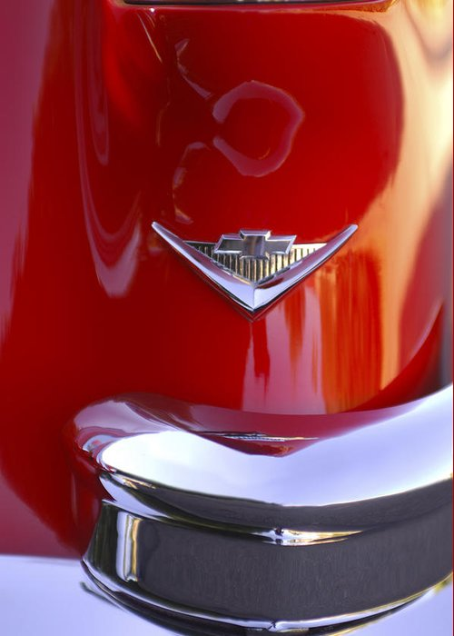 Car Greeting Card featuring the photograph 1955 Chevrolet Belair Nomad Emblem by Jill Reger
