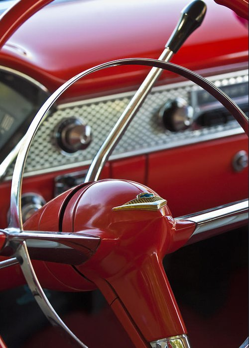 Car Greeting Card featuring the photograph 1955 Chevrolet Belair Nomad Steering Wheel by Jill Reger