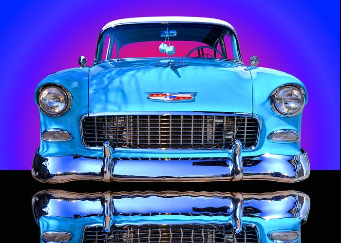 Car Greeting Card featuring the photograph 1955 Chevy Bel Air by Jim Carrell