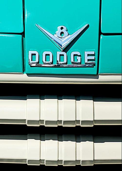 1955 Dodge C-3-b8 Pickup Truck Emblem Greeting Card featuring the photograph 1955 Dodge C-3-b8 Pickup Truck Grille Emblem by Jill Reger