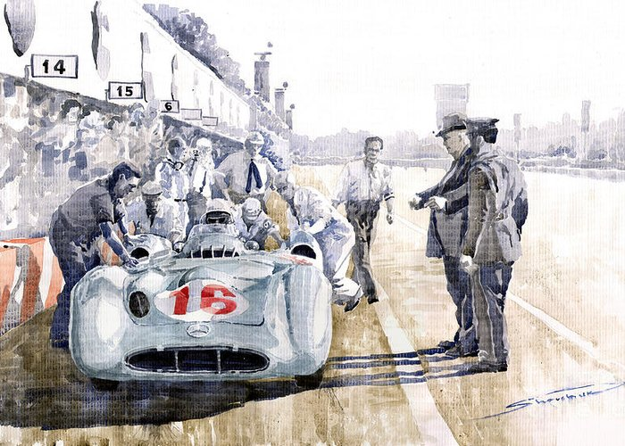 Watercolor Greeting Card featuring the painting 1955 Mercedes Benz W 196 Str Stirling Moss Italian Gp Monza by Yuriy Shevchuk