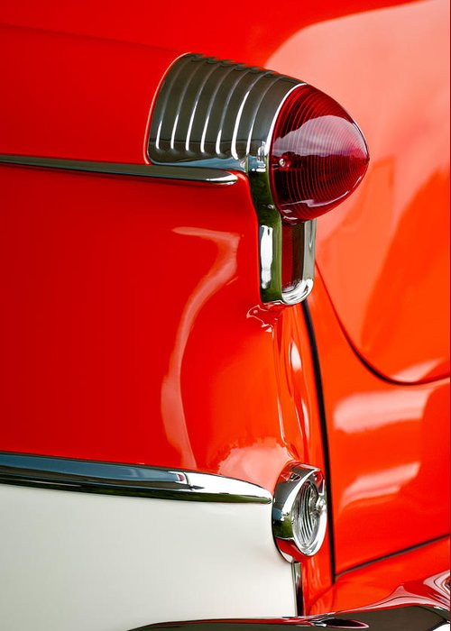 1955 Oldsmobile Greeting Card featuring the photograph 1955 Oldsmobile Taillight by Jill Reger