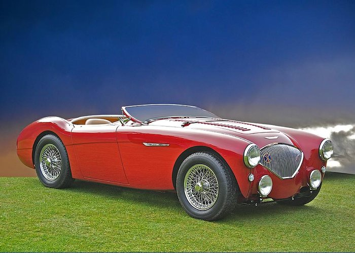 Auto Greeting Card featuring the photograph 1956 Austin Healey 100m by Dave Koontz