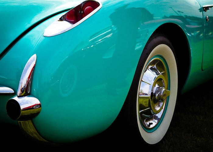 56 Greeting Card featuring the photograph 1956 Baby Blue Chevy Corvette by David Patterson