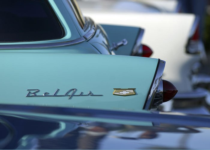 Car Greeting Card featuring the photograph 1956 Chevrolet Belair Nomad Rear End by Jill Reger