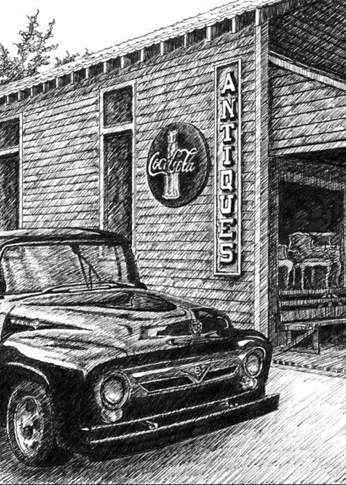 Ford Truck Greeting Card featuring the drawing 1956 Ford F-100 Truck by Janet King
