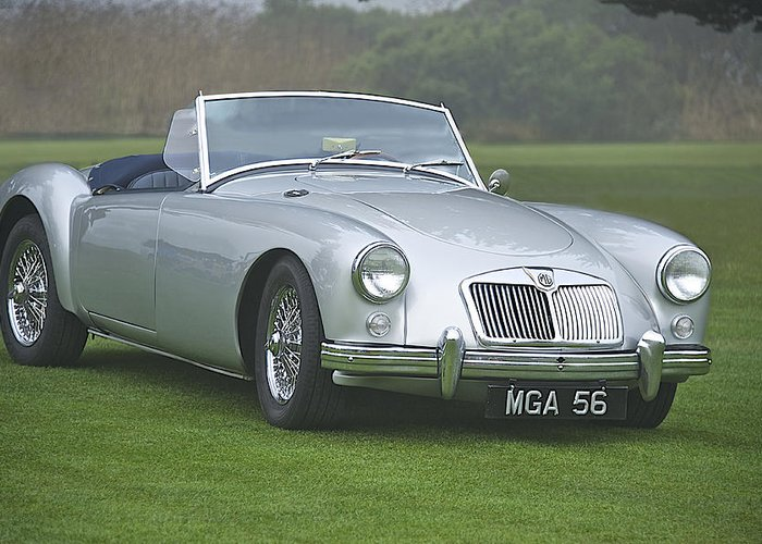 Auto Greeting Card featuring the photograph 1956 Mga Roadster by Dave Koontz