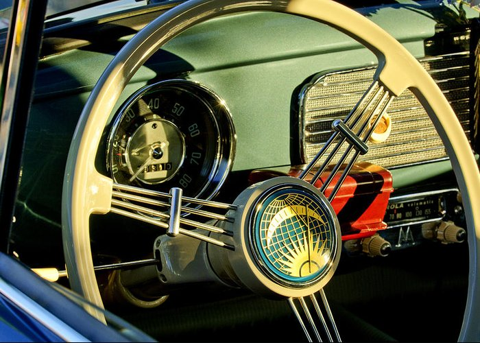 1956 Volkswagen Vw Bug Greeting Card featuring the photograph 1956 Volkswagen Vw Bug Steering Wheel 2 by Jill Reger