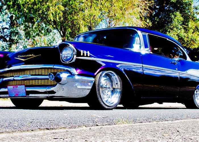 Custom Chevrolet Greeting Card featuring the photograph 1957 Chevrolet Bel Air by Phil 'motography' Clark