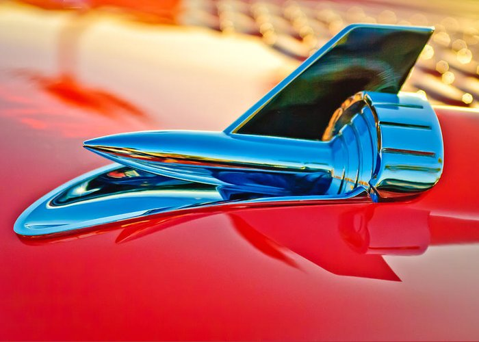1957 Chevrolet Belair Hood Ornament Greeting Card featuring the photograph 1957 Chevrolet Belair Hood Ornament by Jill Reger