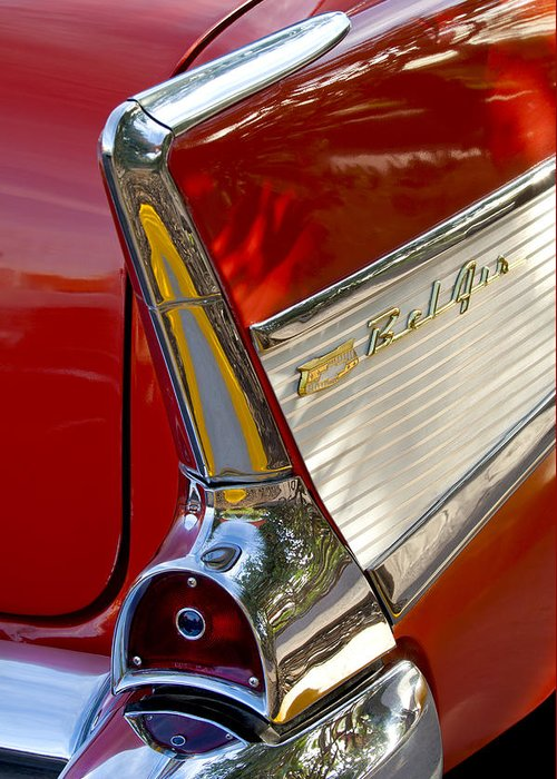 1957 Chevrolet Belair Greeting Card featuring the photograph 1957 Chevrolet Belair Taillight by Jill Reger