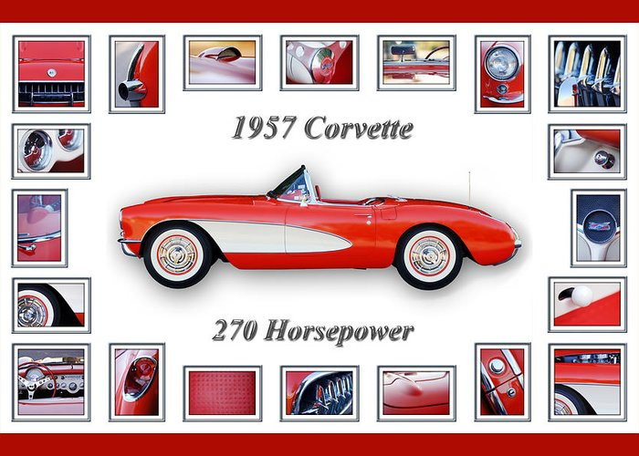 1957 Chevrolet Corvette Grille Greeting Card featuring the photograph 1957 Chevrolet Corvette Art by Jill Reger