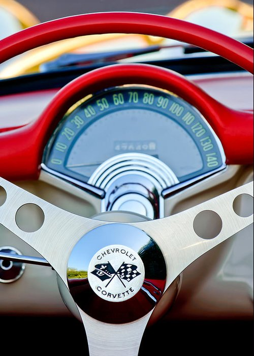 Car Greeting Card featuring the photograph 1957 Chevrolet Corvette Convertible Steering Wheel by Jill Reger