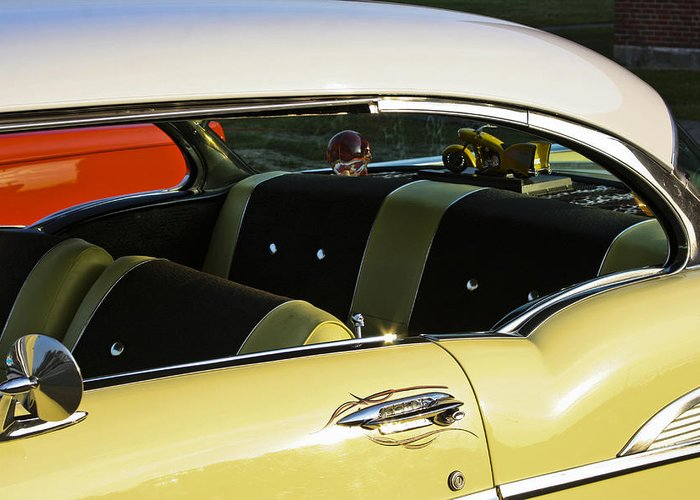 1957 Chevy Bel Air Yellow Interior Greeting Card