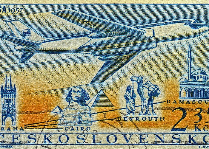 1957 Greeting Card featuring the photograph 1957 Czechoslovakia Airline Stamp by Bill Owen