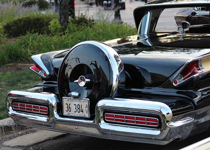 1957 Mercury Turnpike Greeting Card featuring the photograph 1957 Mercury Turnpike Rear End by Rosanne Jordan