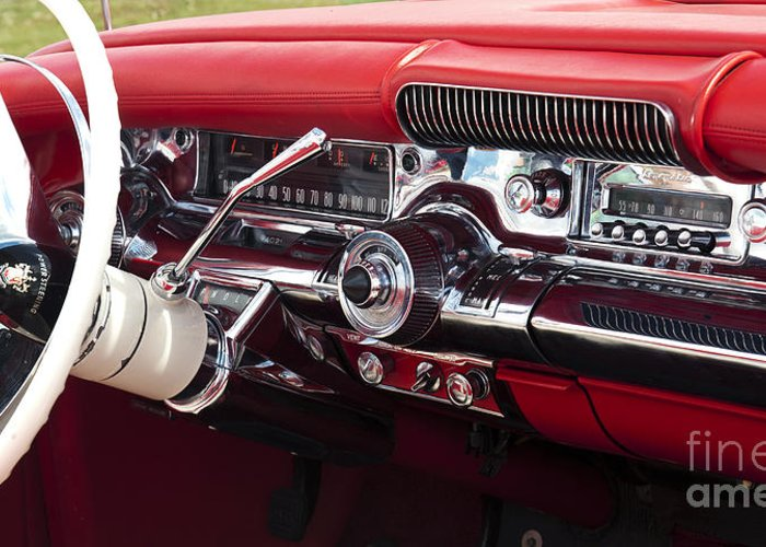 1958 Buick Special Greeting Card featuring the photograph 1958 Buick Special Dashboard by Tim Gainey