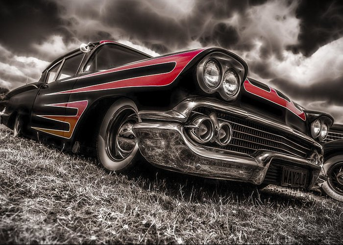 Chevrolet Biscayne Greeting Card featuring the photograph 1958 Chev Biscayne by motography aka Phil Clark