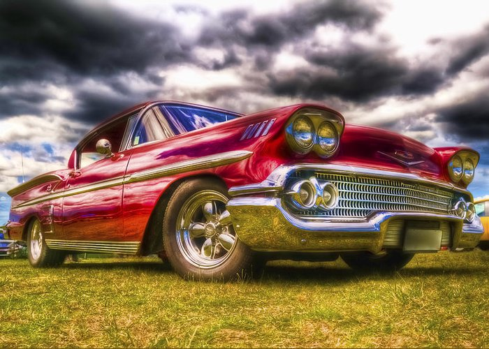 Chev Impala Greeting Card featuring the photograph 1958 Chevrolet Impala by Phil 'motography' Clark
