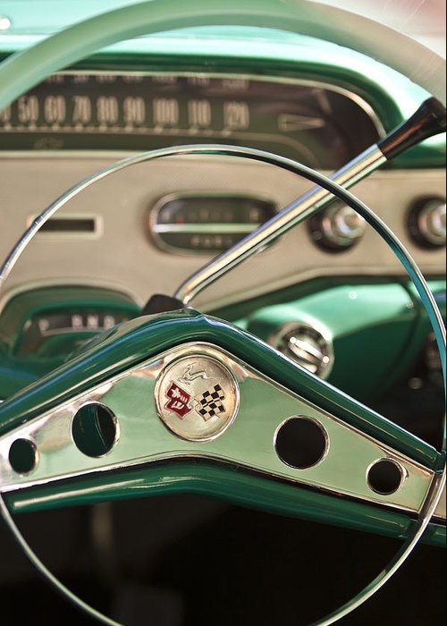 1958 Chevrolet Impala Greeting Card featuring the photograph 1958 Chevrolet Impala Steering Wheel by Jill Reger