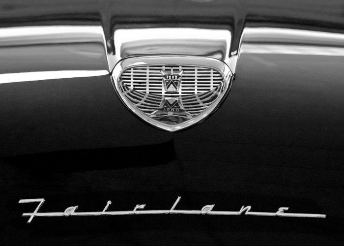 1958 Ford Fairlane 500 Victoria Hood Emblem Greeting Card featuring the photograph 1958 Ford Fairlane 500 Victoria Hood Emblem by Jill Reger
