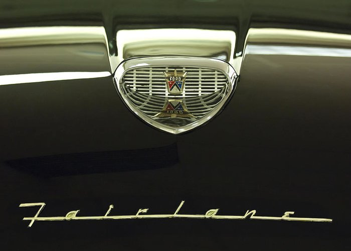 1958 Ford Fairlane 500 Victoria Tudor Hardtop Greeting Card featuring the photograph 1958 Ford Fairlane 500 Victoria Hood Ornament by Jill Reger