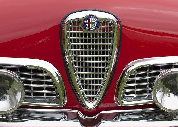 1959 Alfa Romeo Giulietta Sprint Greeting Card featuring the photograph 1959 Alfa Romeo Giulietta Sprint Grille by Jill Reger