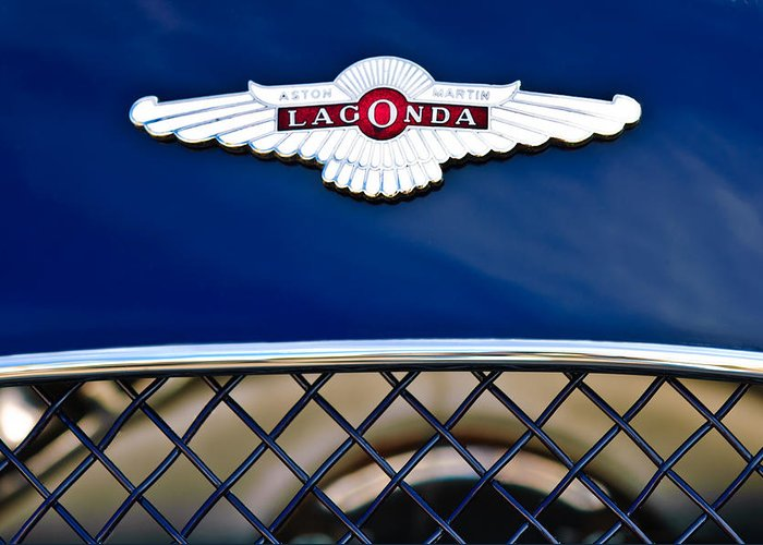 Lagonda Greeting Card featuring the photograph 1959 Aston Martin Jaguar C-type Roadster Hood Emblem by Jill Reger