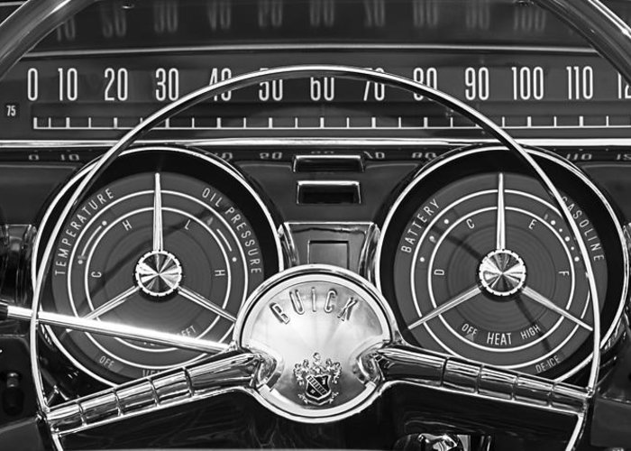 1959 Buick Lesabre Greeting Card featuring the photograph 1959 Buick Lasabre Steering Wheel by Jill Reger