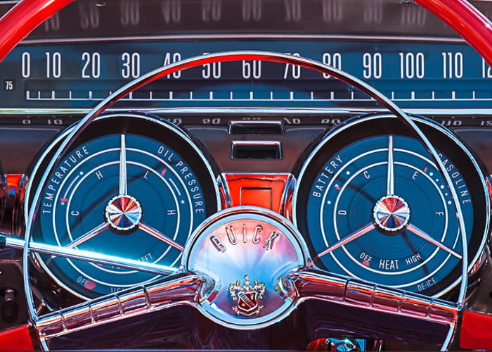 Car Greeting Card featuring the photograph 1959 Buick Lesabre Steering Wheel by Jill Reger