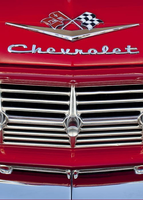 1959 Chevrolet Greeting Card featuring the photograph 1959 Chevrolet Grille Ornament by Jill Reger