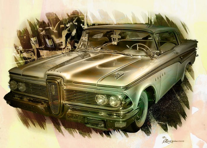 Edsel Greeting Card featuring the photograph 1959 Edsel by Ericamaxine Price