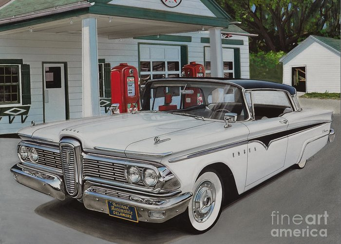 Edsel Greeting Card featuring the drawing 1959 Edsel Ranger by Paul Kuras