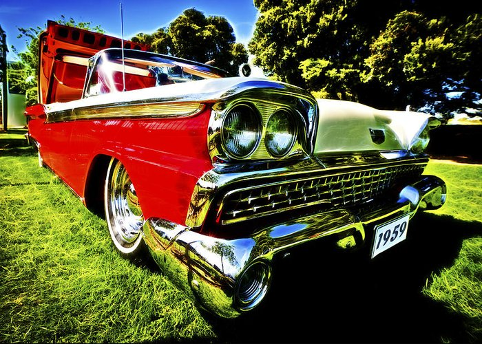 1959 Ford Greeting Card featuring the photograph 1959 Ford Fairlane 500 Skyliner by motography aka Phil Clark